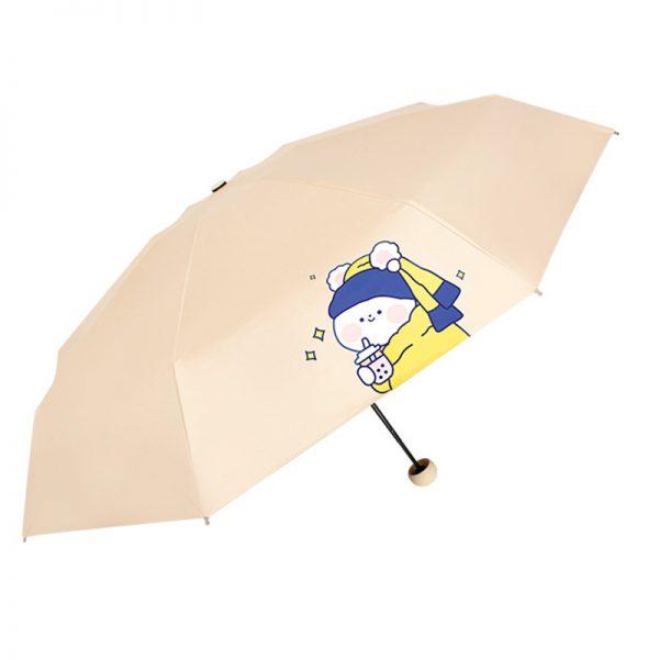 DOENR Compact Travel Umbrella Cute Expression Sun and Rain Auto Open Close Umbrellas Lightweight Portable Outdoor Folding Umbrella